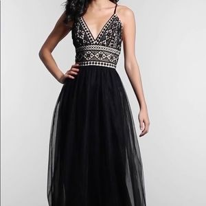Long Crocheted V-Neck Prom Dress by PromGirl